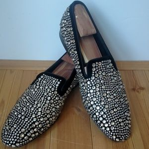 Louis Leeman Shoes - Men's Louis Leeman Black Velvet Crystal Slippers
